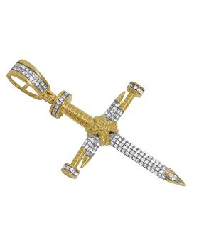 10K Yellow Gold 3D Nail Cross Real Diamond Pendant Charm .50ct 1.75""