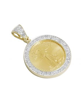 Men's Yellow Gold 22K Liberty Coin 1/4 OZ Genuine Diamonds Pendant Charm 1.0 ct