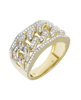 10K Yellow Gold Men's Miami Cuban Real Diamond Ring 1.0ct