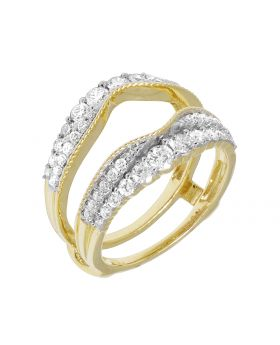 14K Yellow Gold Real Diamond Jacket Enhancer Ring 1.25ct