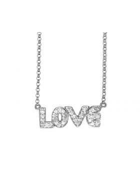 14K White Gold Love Real Diamond Charm Necklace Chain .20 ct