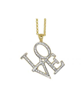 14K Yellow Gold Love Real Diamond Charm Necklace Chain .60 ct