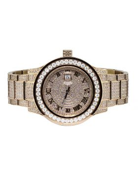 Mens Jewelry Unlimited Rose Gold Simulated Diamond Watch 45MM