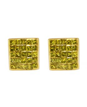 10K Yellow Gold Real Canary Princess Diamond Studs Earrings 0.66ct 7MM