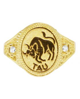 Men's Real 10K Yellow Gold Taurus Bull Zodiac Ring 14MM