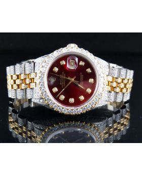 Rolex Datejust 18K/ Steel 36MM 16013 Red Dial Diamond Watch 12.5 Ct