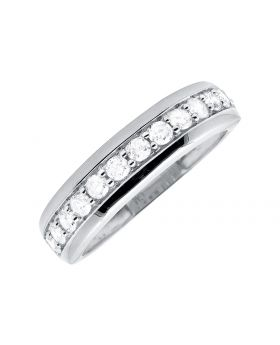 Ladies White Gold One Row Shared Prong Channel Set Diamond Wedding Band (0.48ct)