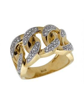 Yellow Gold Over .925 Sterling Silver Diamond Cuban Link Pinky Ring 0.50ct