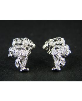Panther Genuine White Diamond Stud Earrings in 10K Gold