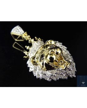 "Yellow Gold Finished Genuine Diamond King Lion Pendant Charm 1.5"" (0.50 ct)"