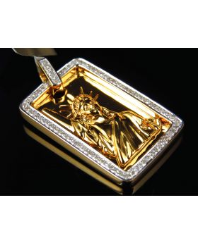 "Yellow Gold Finished Gold Bar Liberty Lady 1.25"" Pendant Charm 0.35ct"