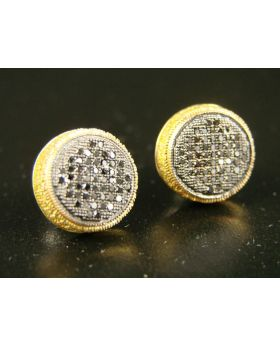Black Camary Diamond Stud Earrings In 10K White Gold