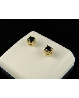 Round Stud Earrings Black Diamond Solitaire In 14KY.