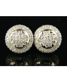 Round 3D Pave Diamond Stud Earrings In 10K White Gold