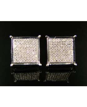 Square Invisible Diamond Stud Earrings in White Gold Finish