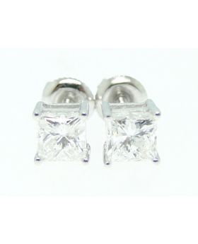 Princess Cut Solitaire Diamond Studs Earrings In 14K