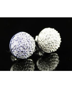 Round Dome Diamond Stud Earrings In White Gold Finish 0.50Ct