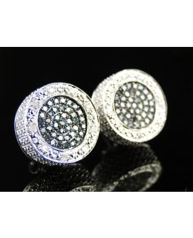 Blue 3D Round Handset Diamond Stud Earrings 0.90 Ct