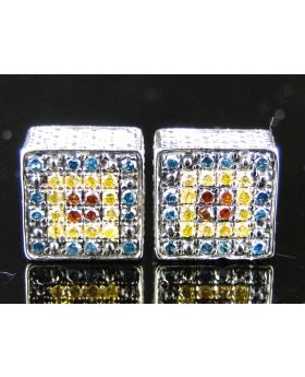 Ice Cube Blue Canary Red Diamonds Stud Earrings 0.65Ct