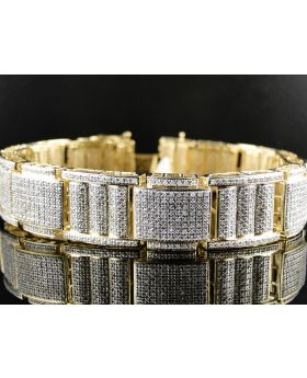 Pave Diamond 8.5 Inch Bracelet set in 10K Yellow Gold (6.0 ct)