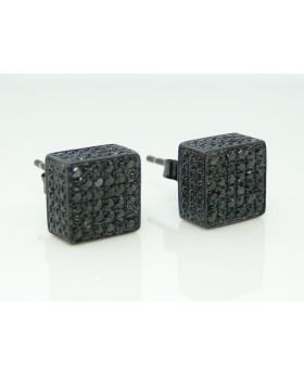 Ice Cube 3D Black Diamond Stud Earrings 9mm
