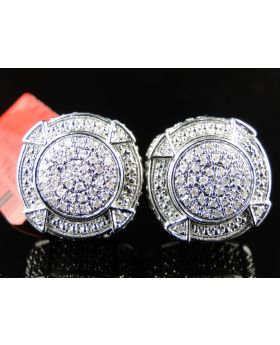 Round Handset White Diamond Stud Earrings  (0.925 SS)