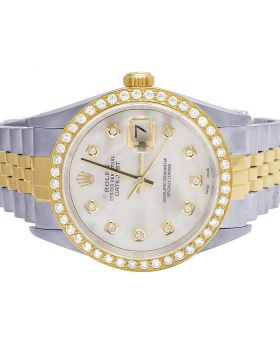 Rolex Datejust 18K/ Steel 36MM MOP Dial Diamond Watch 2.5 Ct