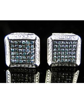 Ice Cube White Finish Blue Diamond Bezel Studs Earrings.