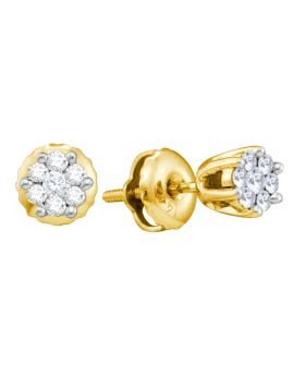 Unisex 14K Yellow Gold Real Diamond Flower Earring Studs 0.15CT