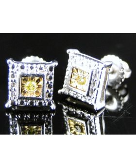 White Gold Finish 8mm Genuine Canary Diamond Earrings