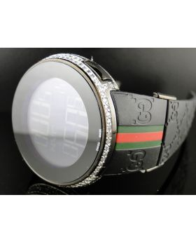 5 Row Black Pvd I Gucci Digital White Diamond Watch
