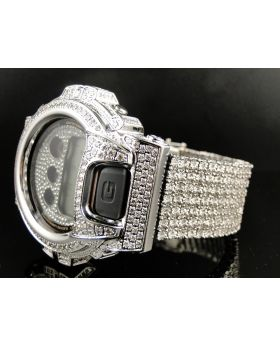 Custom G Shock White Diamond Watch (9.5 Ct)