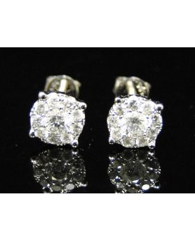 Diamond Solitaire Look Stud Earrings In 14K White Gold