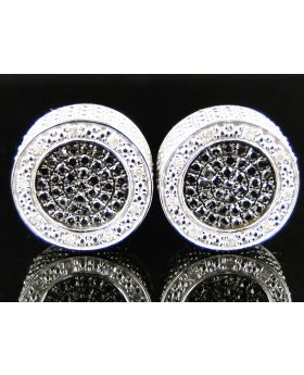 New Black/White Diamond 15mm Round Studs Earrings