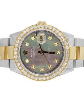 Rolex Datejust 18K/Steel Two Tone Oyster 36MM 16013 Diamond Watch 3.0 Ct