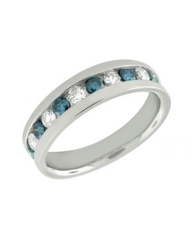 10K White Gold Men's Comfort Fit Treated Blue And White Diamond Band Ring 1.10ct