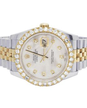 Rolex Datejust 18K/ Steel 116233 MOP Dial Diamond Watch 4.2 Ct