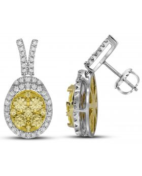 14K White Gold Earrings with 1.843 CT White and Yellow Diamonds