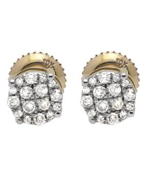 10K Yellow Gold 6MM Round Halo Cluster Diamond Stud Earring 0.40ct.