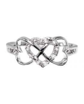 Interlocking Heart Ring in Sterling Silver (0.10 ct)