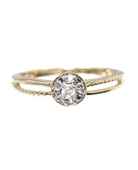 Solitaire Look Ring in Yellow Gold (0.05 ct)