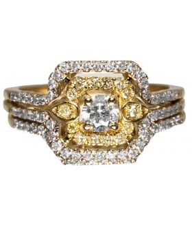 Square Halo White/Canary Diamond Ring (0.73ct)