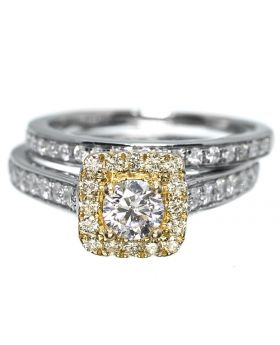 Halo Yellow Diamond Engagement Ring (1.05 Ct)