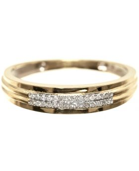 2 Row Mens Pave Diamond Wedding Band in Yellow Gold