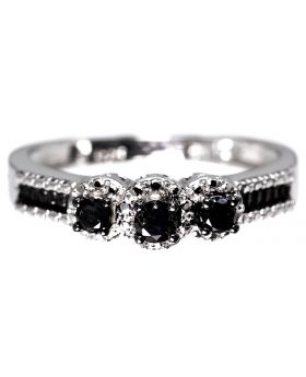 3 Stone Ring in Sterling Silver with Black Diamonds