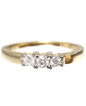 Three Stone Ring in 10k Yellow Gold (0.25 ct)