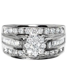 Womens Engagement Ring with Illusion Set Solitaire (1.0 ct)