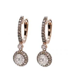 Round Diamond Dangle Earring in Rose Gold (1.22 ct)