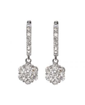 Flower Drop Earrings in White Gold (1.21 ct)