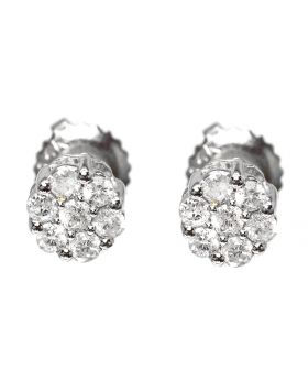 Flower/Cluster Studs in White Gold  Finish (0.25 ct)